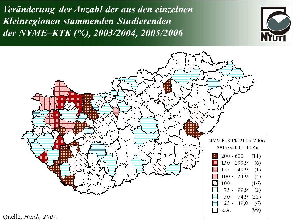 Veränderung der Anzahl der aus den einzelnen Kleinregionen stammenden Studierenden der NYME–KTK (%), 2003/2004, 2005/2006 Quelle: Hardi, 2007.