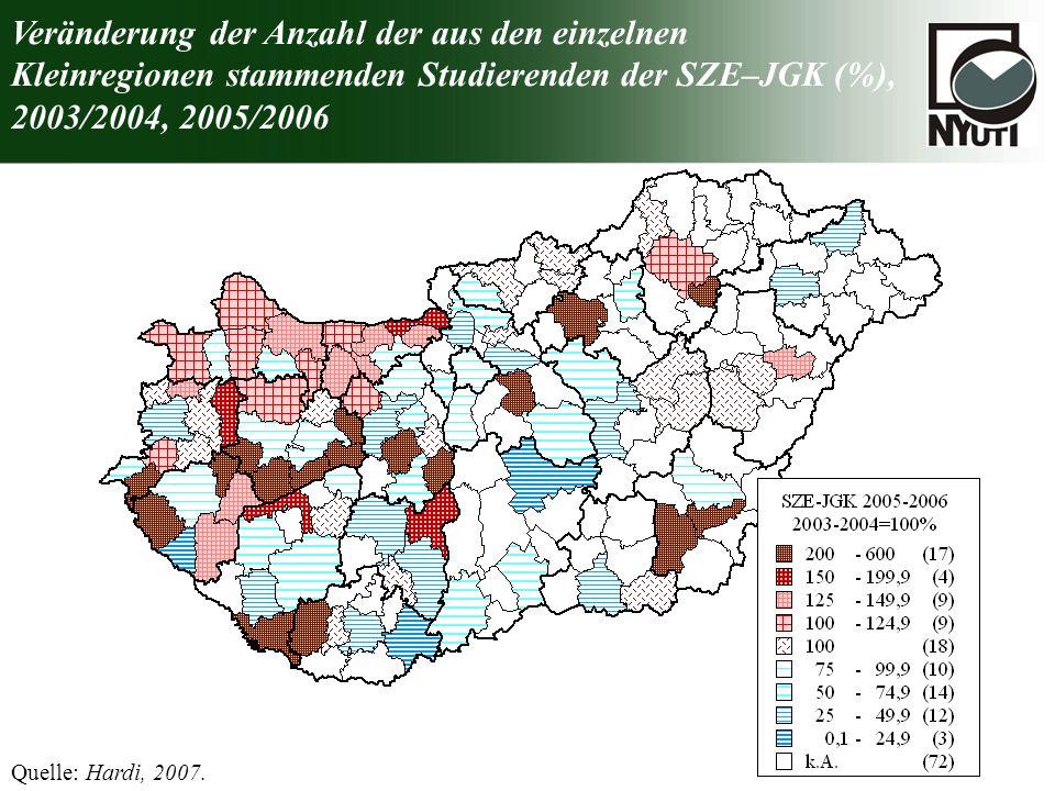Veränderung der Anzahl der aus den einzelnen Kleinregionen stammenden Studierenden der SZE–JGK (%), 2003/2004, 2005/2006 Quelle: Hardi, 2007.