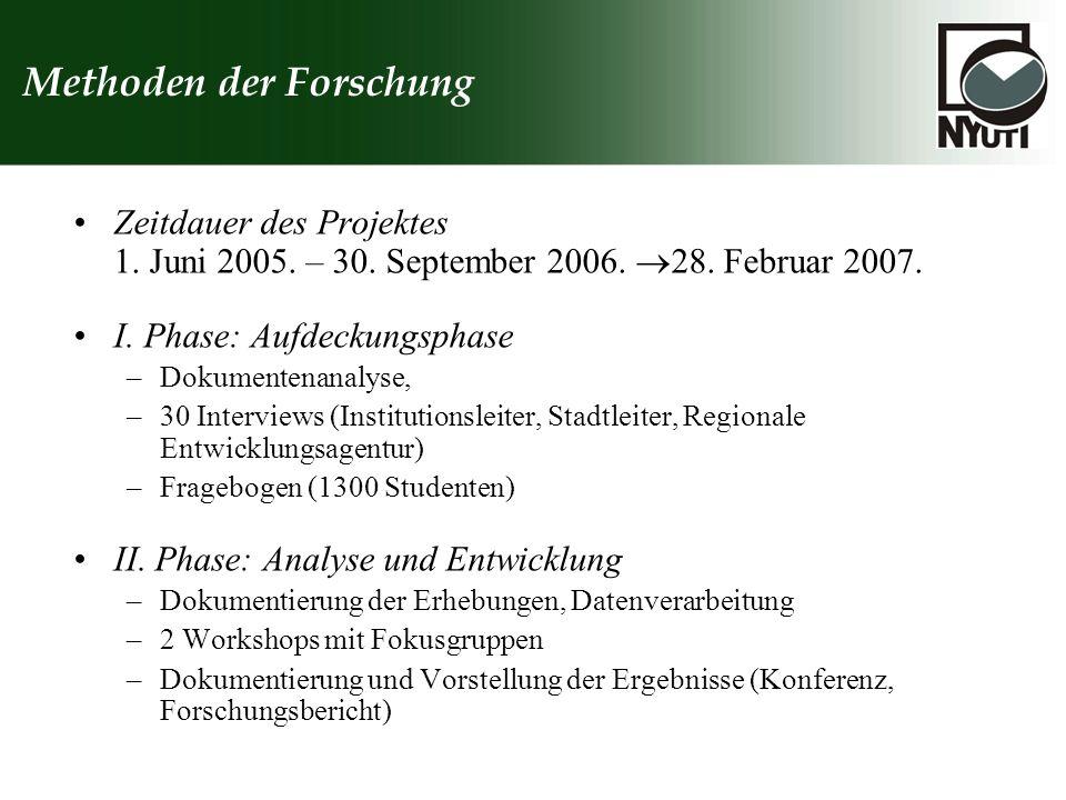 Methoden der Forschung Zeitdauer des Projektes 1. Juni 2005. – 30. September 2006. 28. Februar 2007. I. Phase: Aufdeckungsphase –Dokumentenanalyse, –3