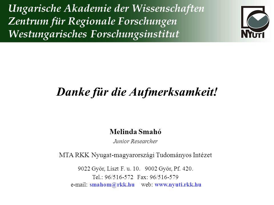 Danke für die Aufmerksamkeit! Melinda Smahó Junior Researcher MTA RKK Nyugat-magyarországi Tudományos Intézet 9022 Győr, Liszt F. u. 10. 9002 Győr, Pf