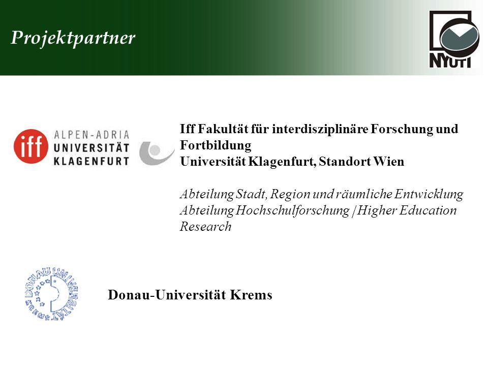 Projektpartner Donau-Universität Krems Iff Fakultät für interdisziplinäre Forschung und Fortbildung Universität Klagenfurt, Standort Wien Abteilung St