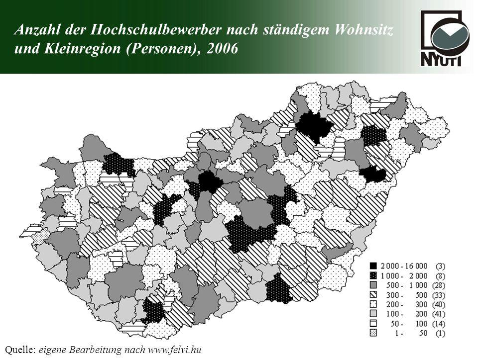 Anzahl der Hochschulbewerber nach ständigem Wohnsitz und Kleinregion (Personen), 2006 Quelle: eigene Bearbeitung nach www.felvi.hu