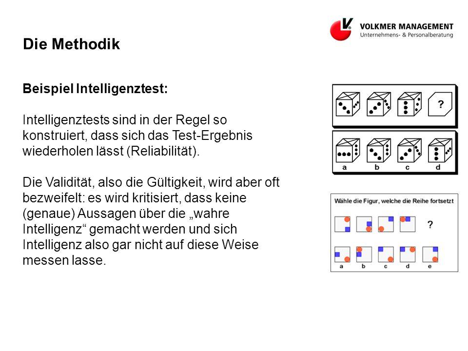 Die Methodik Beispiel Intelligenztest: Intelligenztests sind in der Regel so konstruiert, dass sich das Test-Ergebnis wiederholen lässt (Reliabilität).