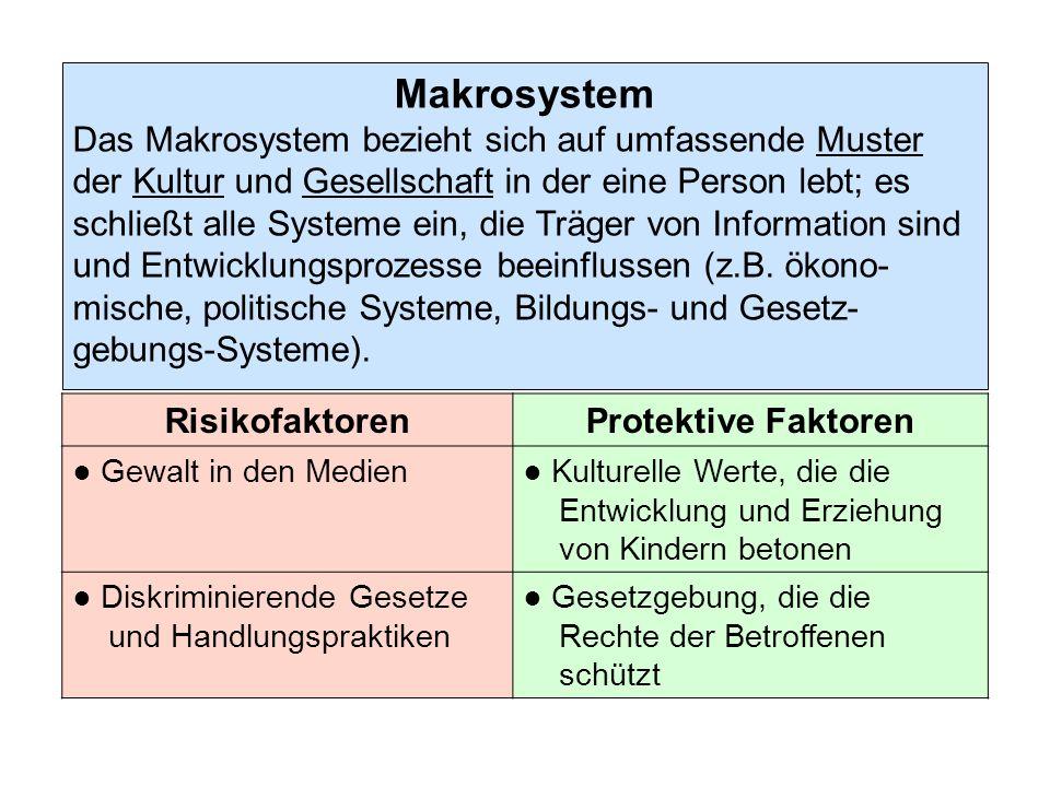 Makrosystem Das Makrosystem bezieht sich auf umfassende Muster der Kultur und Gesellschaft in der eine Person lebt; es schließt alle Systeme ein, die