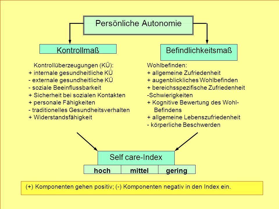 Kontrollmaß (+) Komponenten gehen positiv; (-) Komponenten negativ in den Index ein. Wohlbefinden: + allgemeine Zufriedenheit + augenblickliches Wohlb