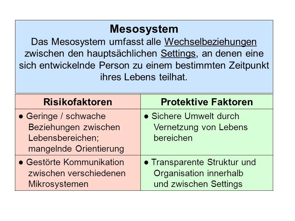 Exosystem Das Exosystem beinhaltet spezifische soziale Strukturen, an denen eine sich entwickelnde Person selbst nicht beteiligt ist; diese beeinflussen oder determinieren aber die unmit- telbaren settings, in denen die Person lebt (z.B.