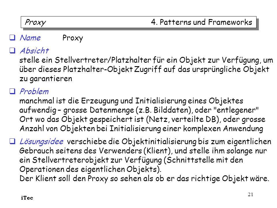 iTec 21 Name Proxy Absicht stelle ein Stellvertreter/Platzhalter für ein Objekt zur Verfügung, um über dieses Platzhalter-Objekt Zugriff auf das urspr