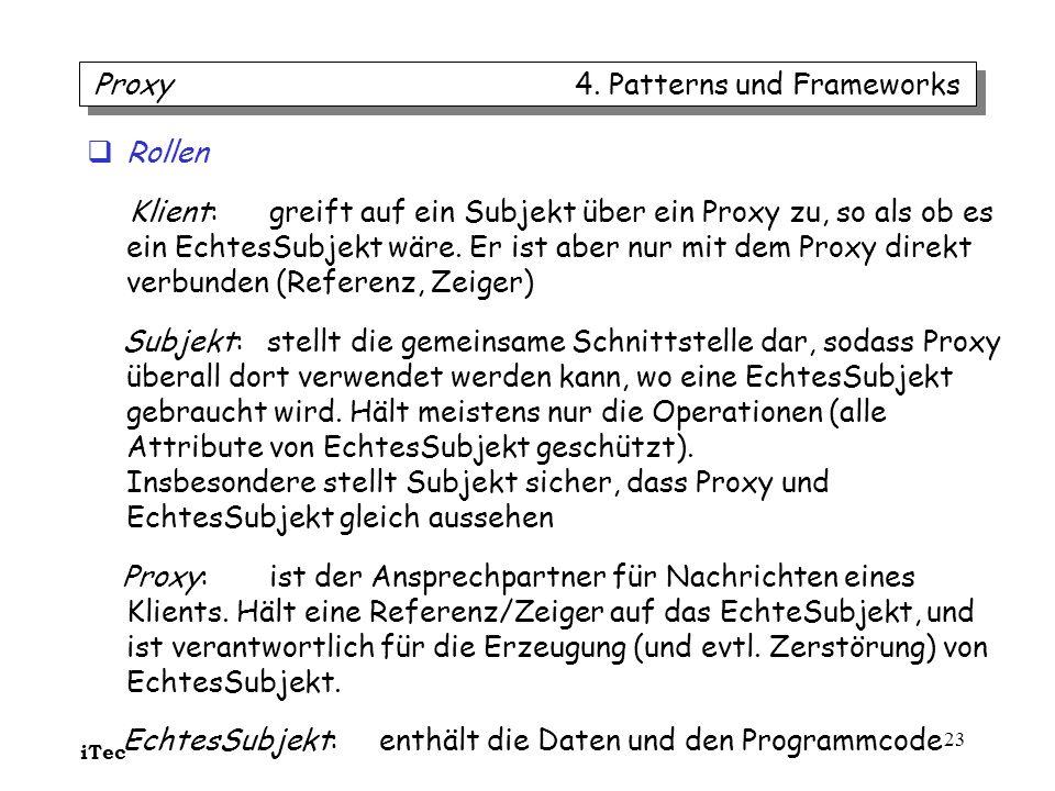 iTec 23 Rollen Klient: greift auf ein Subjekt über ein Proxy zu, so als ob es ein EchtesSubjekt wäre. Er ist aber nur mit dem Proxy direkt verbunden (