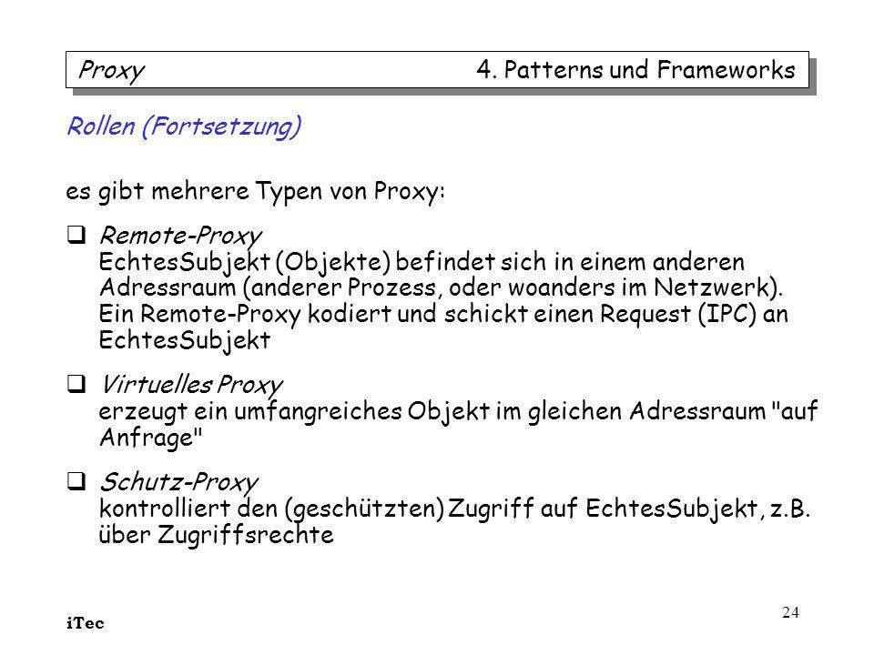 iTec 24 Rollen (Fortsetzung) es gibt mehrere Typen von Proxy: Remote-Proxy EchtesSubjekt (Objekte) befindet sich in einem anderen Adressraum (anderer