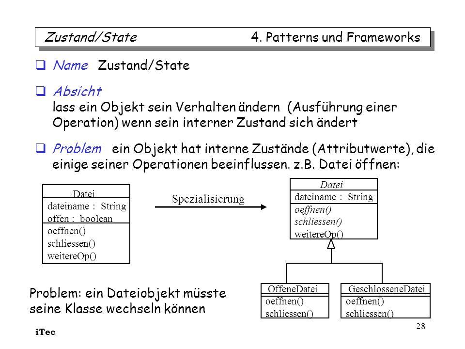 iTec 28 Name Zustand/State Absicht lass ein Objekt sein Verhalten ändern (Ausführung einer Operation) wenn sein interner Zustand sich ändert Problem e