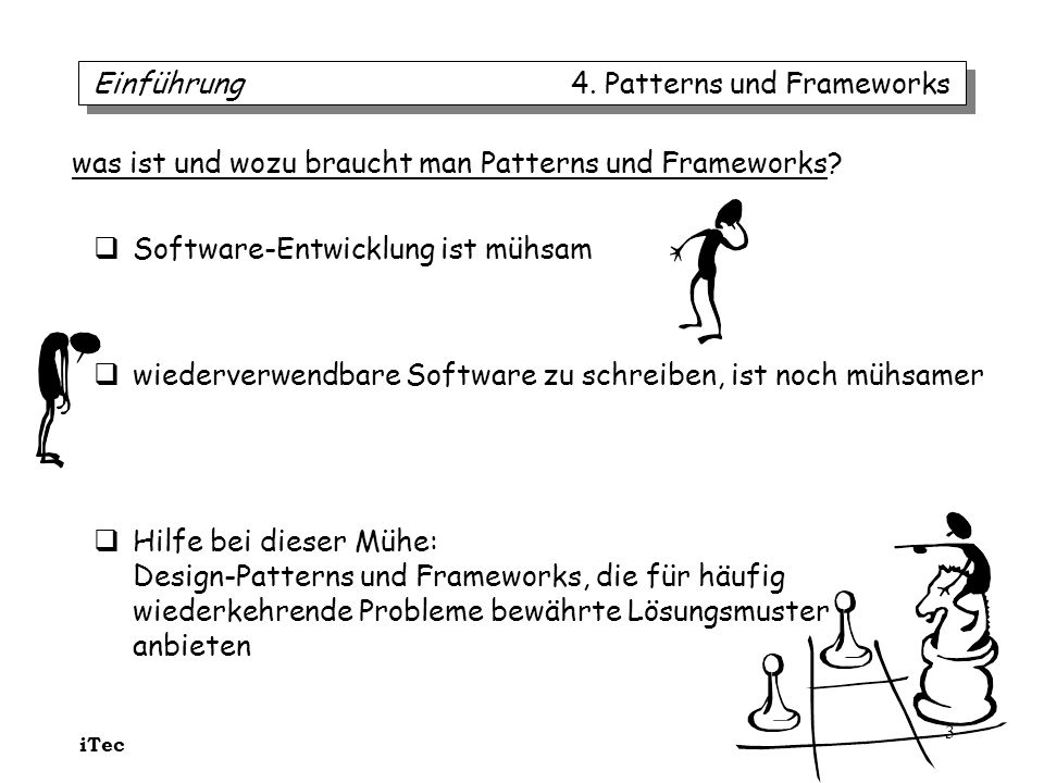 iTec 3 Software-Entwicklung ist mühsam wiederverwendbare Software zu schreiben, ist noch mühsamer Hilfe bei dieser Mühe: Design-Patterns und Framework