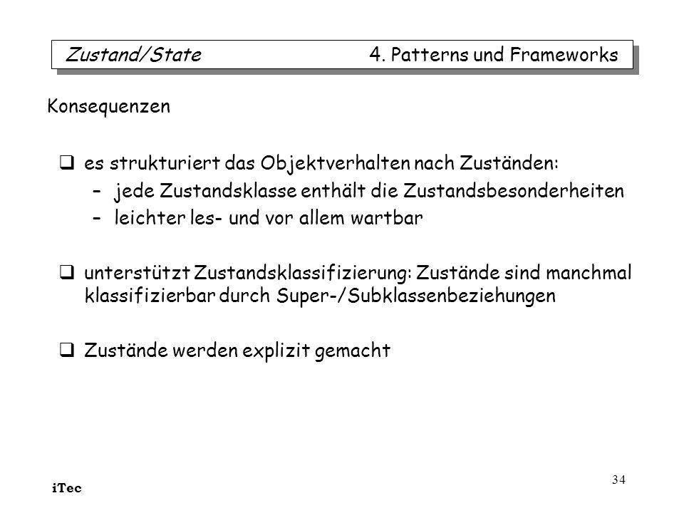 iTec 34 es strukturiert das Objektverhalten nach Zuständen: –jede Zustandsklasse enthält die Zustandsbesonderheiten –leichter les- und vor allem wartb