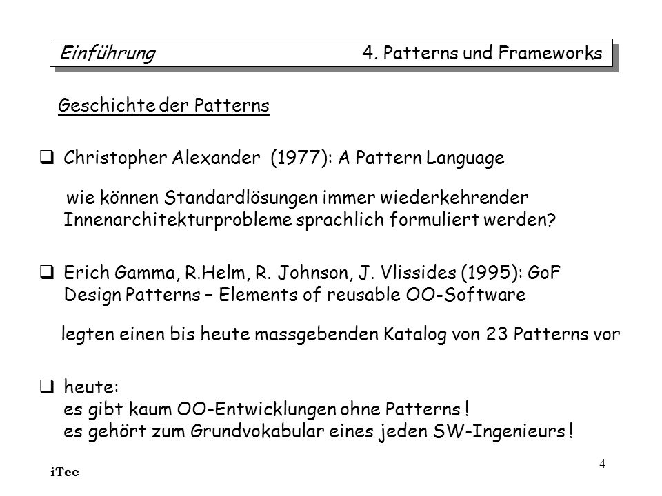 iTec 25 ein Remote-Proxy kann einem Klient verbergen, dass das ange- sprochene Objekt (EchtesSubjekt) in anderem Adressraum liegt ein Virtuelles Proxy kann optimieren: –verzögerte Objektinitialisierung (vielleicht nie) –Lastausgleich bei initialisierungsintensiven Anwendungen ein virtuelles Proxy kann selber einfache Daten halten Proxy 4.