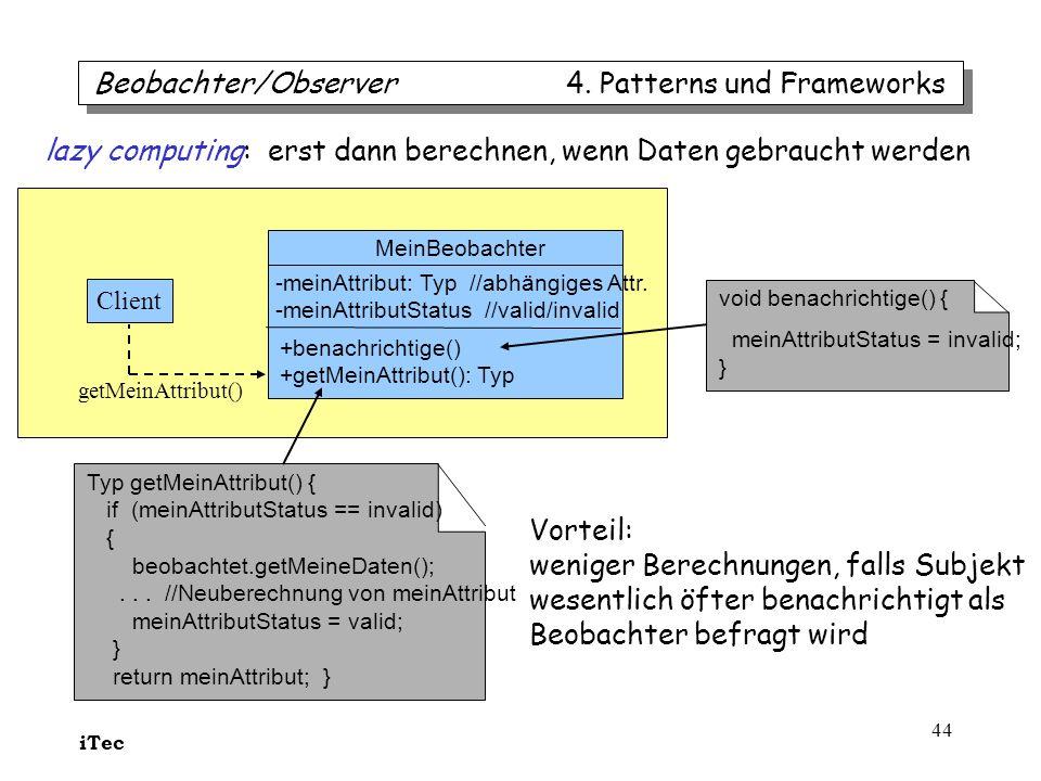 iTec 44 MeinBeobachter -meinAttribut: Typ //abhängiges Attr. -meinAttributStatus //valid/invalid +benachrichtige() +getMeinAttribut(): Typ Typ getMein