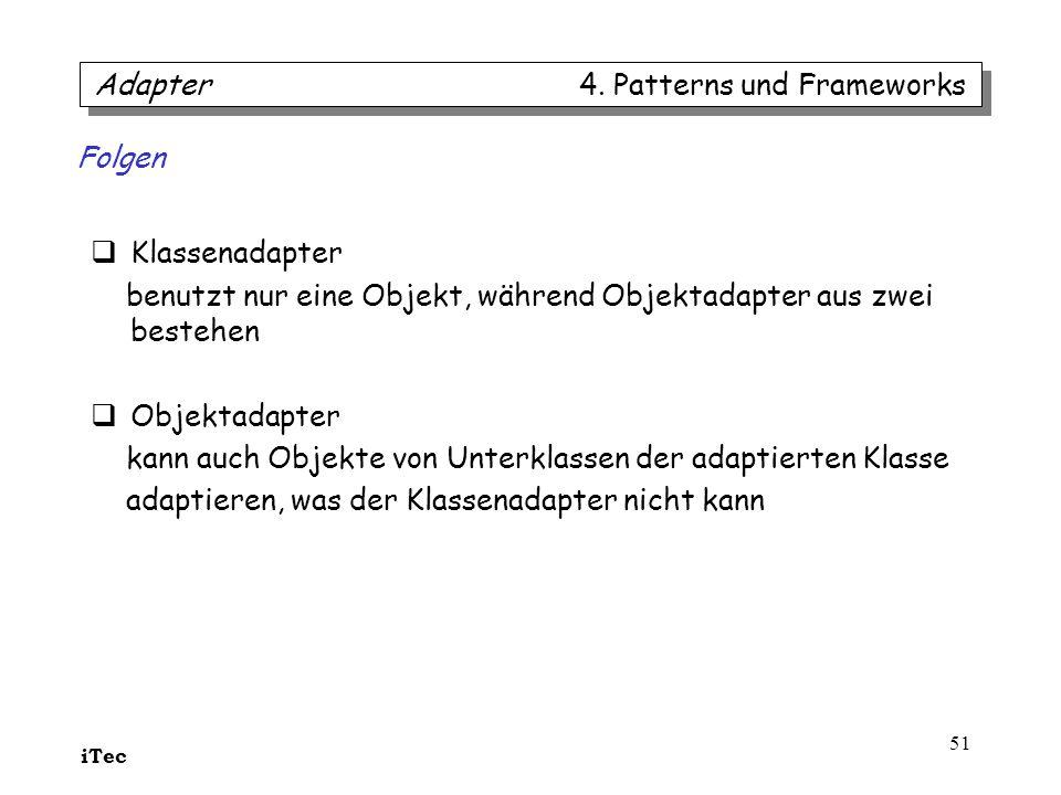 iTec 51 Klassenadapter benutzt nur eine Objekt, während Objektadapter aus zwei bestehen Objektadapter kann auch Objekte von Unterklassen der adaptiert