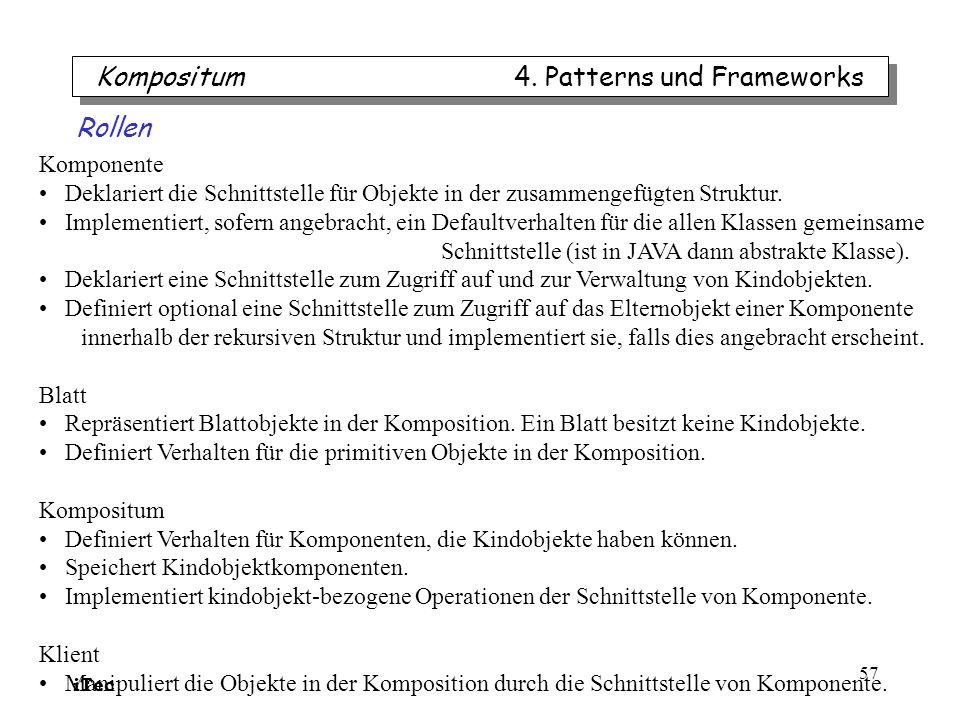 iTec 57 Kompositum 4. Patterns und Frameworks Komponente Deklariert die Schnittstelle für Objekte in der zusammengefügten Struktur. Implementiert, sof