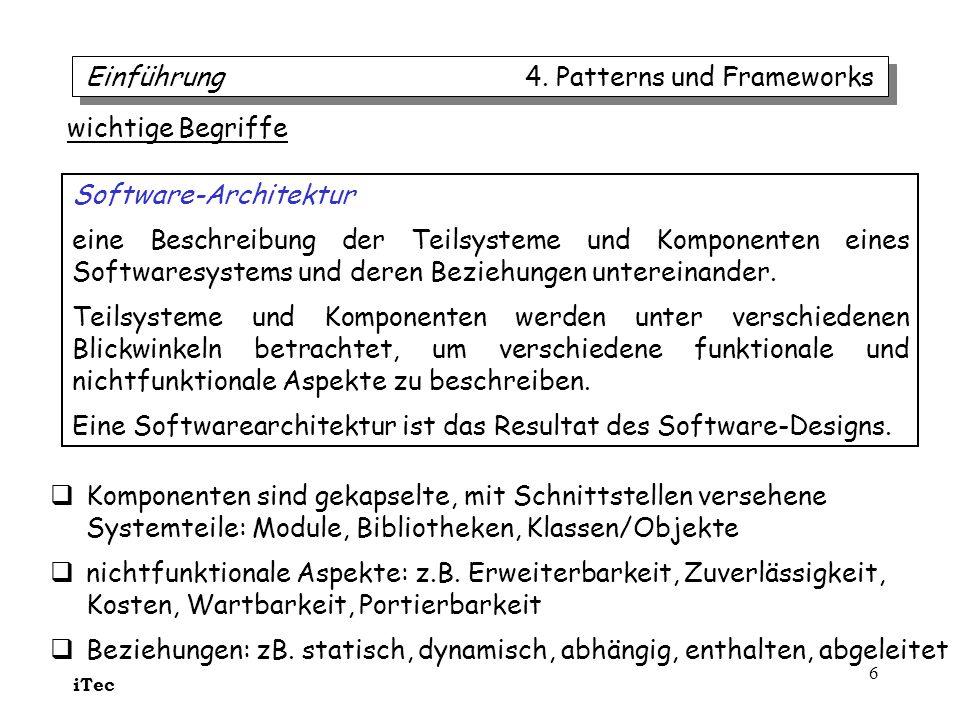 iTec 37 Teilnehmer Subjekt kennt seine Beobachter (beliebig viele) als abstrakte Beobachter; bietet Schnittstelle zur (Ent)Registrierung von Beobachtern; hat Operation zur Benachrichtigung registrierter Beobachter Beobachter bietet einen Typ (abstrakte Klasse/Interface) der benachrichtigt werden kann von Subjekten MeinSubjekt wird unabhängig von Beobachtern programmiert: hält aber Daten von denen Beobachter-Objekte abhängig sind; sendet (fast automatisch) Benachrichtigungen an Beobachter-Objekte wenn Daten sich ändern MeinBeobachter ist abhängig und hält eine Referenz zu einem MeinSubjekt-Objekt; enthält Daten die mit Daten des Subjekts konsistent sein müssen; implementiert die aktualisiere-Operation zur Benachrichtigung Beobachter/Observer 4.
