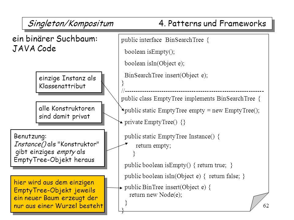 iTec 62 public interface BinSearchTree { boolean isEmpty(); boolean isIn(Object e); BinSearchTree insert(Object e); } //---------------------------------------------------------------- public class EmptyTree implements BinSearchTree { public static EmptyTree empty = new EmptyTree(); private EmptyTree() {} public static EmptyTree Instance() { return empty; } public boolean isEmpty() { return true; } public boolean isIn(Object e) { return false; } public BinTree insert(Object e) { return new Node(e); } ein binärer Suchbaum: JAVA Code Benutzung: Instance() als Konstruktor gibt einziges empty als EmptyTree-Objekt heraus Benutzung: Instance() als Konstruktor gibt einziges empty als EmptyTree-Objekt heraus alle Konstruktoren sind damit privat alle Konstruktoren sind damit privat einzige Instanz als Klassenattribut einzige Instanz als Klassenattribut hier wird aus dem einzigen EmptyTree-Objekt jeweils ein neuer Baum erzeugt der nur aus einer Wurzel besteht hier wird aus dem einzigen EmptyTree-Objekt jeweils ein neuer Baum erzeugt der nur aus einer Wurzel besteht Singleton/Kompositum 4.