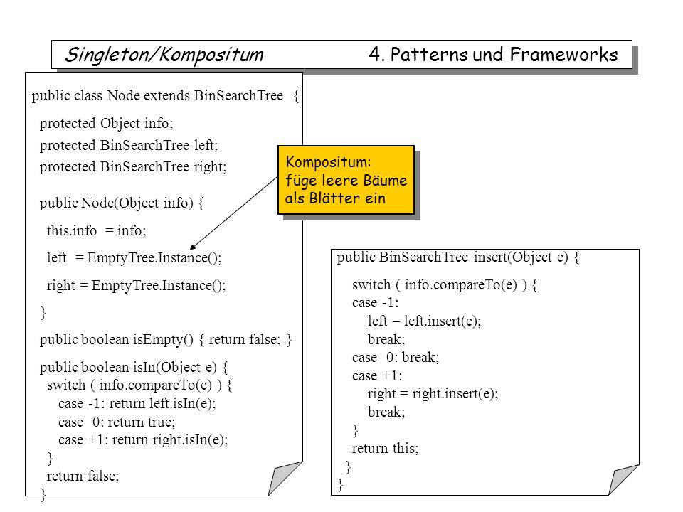 iTec 63 public class Node extends BinSearchTree { protected Object info; protected BinSearchTree left; protected BinSearchTree right; public Node(Object info) { this.info = info; left = EmptyTree.Instance(); right = EmptyTree.Instance(); } public boolean isEmpty() { return false; } public boolean isIn(Object e) { switch ( info.compareTo(e) ) { case -1: return left.isIn(e); case 0: return true; case +1: return right.isIn(e); } return false; } public BinSearchTree insert(Object e) { switch ( info.compareTo(e) ) { case -1: left = left.insert(e); break; case 0: break; case +1: right = right.insert(e); break; } return this; } Singleton/Kompositum 4.