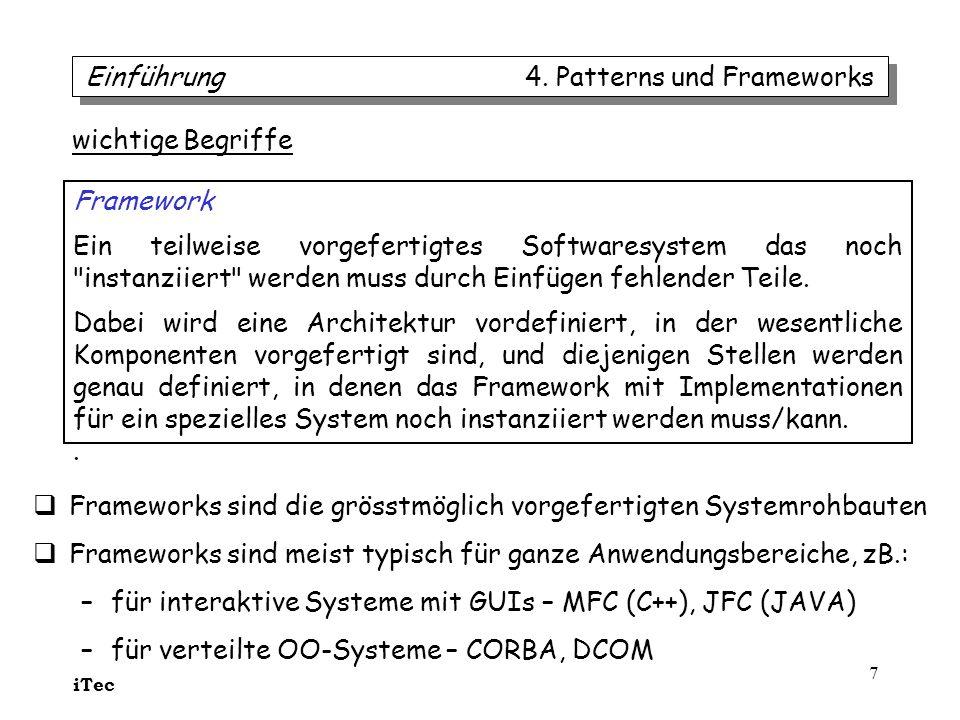 iTec 7 wichtige Begriffe Framework Ein teilweise vorgefertigtes Softwaresystem das noch