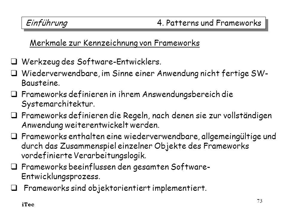 iTec 73 Werkzeug des Software-Entwicklers. Wiederverwendbare, im Sinne einer Anwendung nicht fertige SW- Bausteine. Frameworks definieren in ihrem Ans