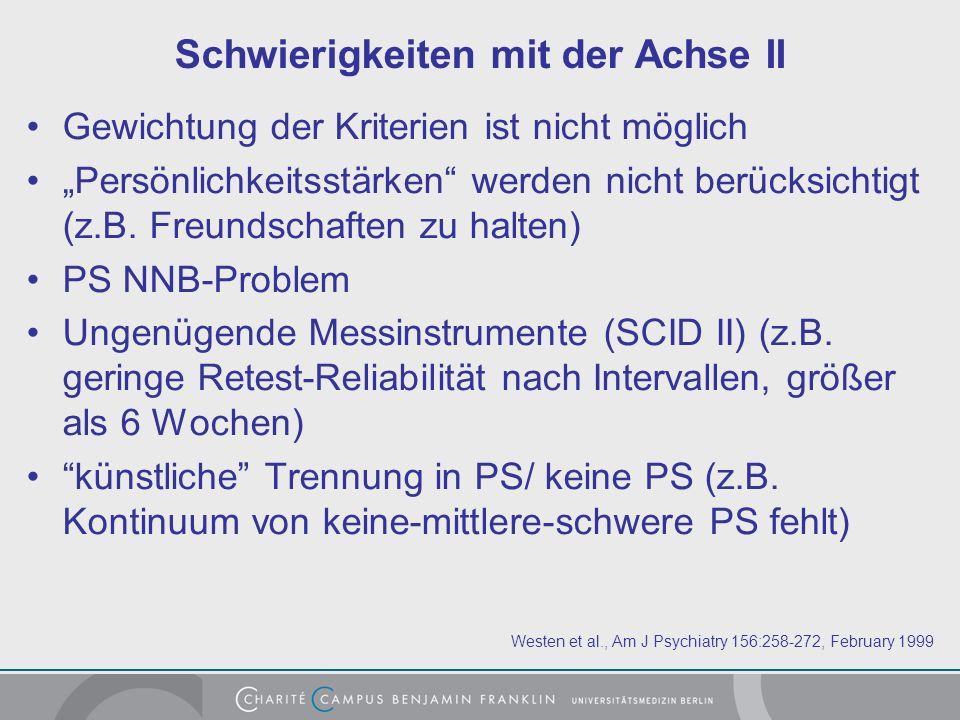 Schwierigkeiten mit der Achse II Gewichtung der Kriterien ist nicht möglich Persönlichkeitsstärken werden nicht berücksichtigt (z.B.
