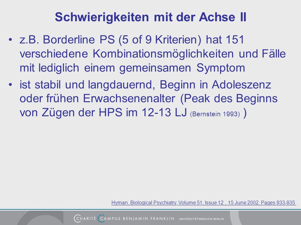 Schwierigkeiten mit der Achse II z.B.