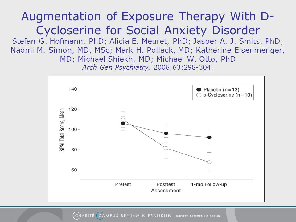 Augmentation of Exposure Therapy With D- Cycloserine for Social Anxiety Disorder Stefan G. Hofmann, PhD; Alicia E. Meuret, PhD; Jasper A. J. Smits, Ph