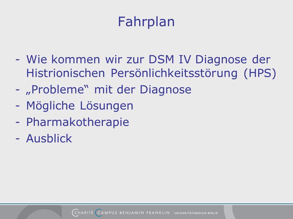 Fahrplan -Wie kommen wir zur DSM IV Diagnose der Histrionischen Persönlichkeitsstörung (HPS) -Probleme mit der Diagnose -Mögliche Lösungen -Pharmakotherapie -Ausblick