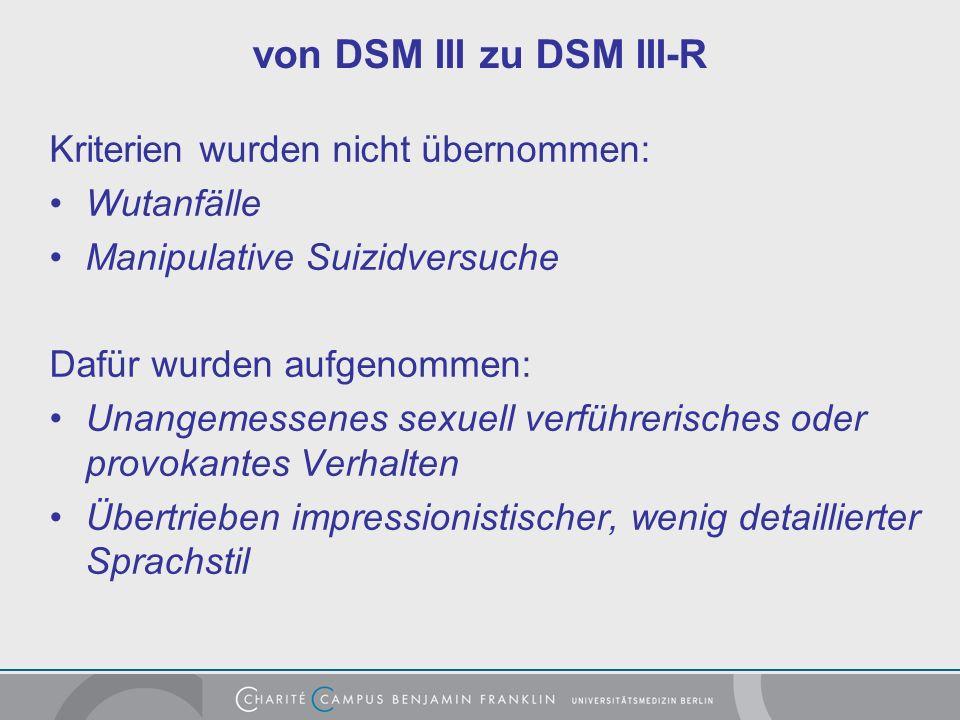 von DSM III zu DSM III-R Kriterien wurden nicht übernommen: Wutanfälle Manipulative Suizidversuche Dafür wurden aufgenommen: Unangemessenes sexuell verführerisches oder provokantes Verhalten Übertrieben impressionistischer, wenig detaillierter Sprachstil