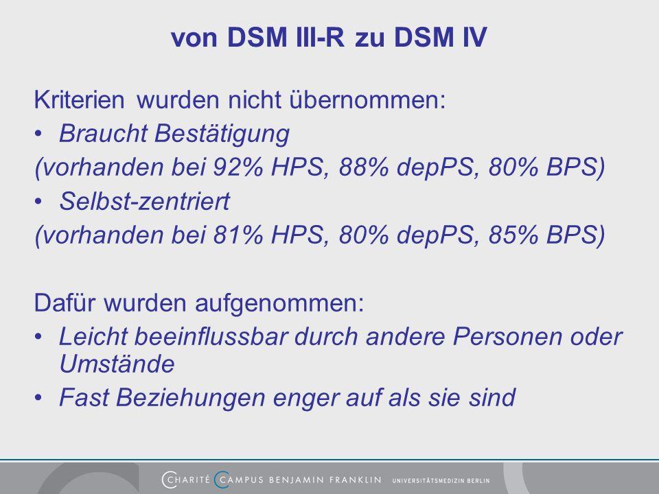 von DSM III-R zu DSM IV Kriterien wurden nicht übernommen: Braucht Bestätigung (vorhanden bei 92% HPS, 88% depPS, 80% BPS) Selbst-zentriert (vorhanden bei 81% HPS, 80% depPS, 85% BPS) Dafür wurden aufgenommen: Leicht beeinflussbar durch andere Personen oder Umstände Fast Beziehungen enger auf als sie sind