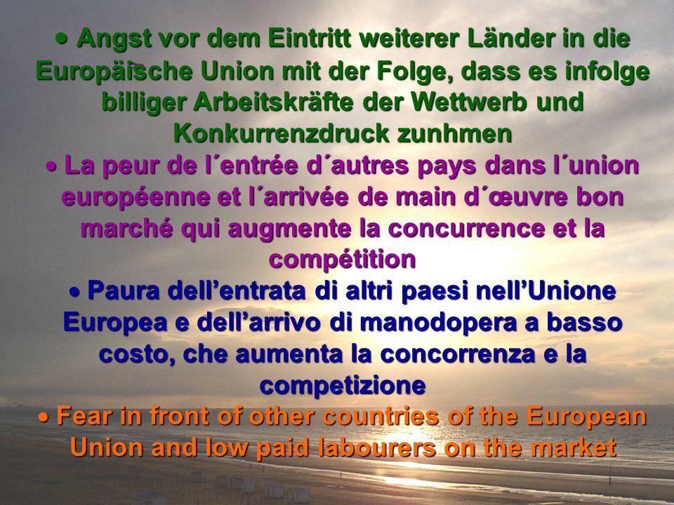 Angst vor dem Eintritt weiterer Länder in die Europäische Union mit der Folge, dass es infolge billiger Arbeitskräfte der Wettwerb und Konkurrenzdruck