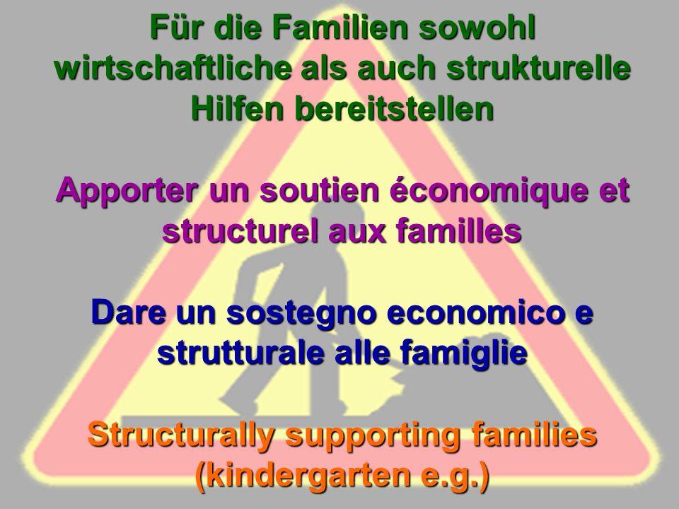 Für die Familien sowohl wirtschaftliche als auch strukturelle Hilfen bereitstellen Apporter un soutien économique et structurel aux familles Dare un sostegno economico e strutturale alle famiglie Structurally supporting families (kindergarten e.g.)
