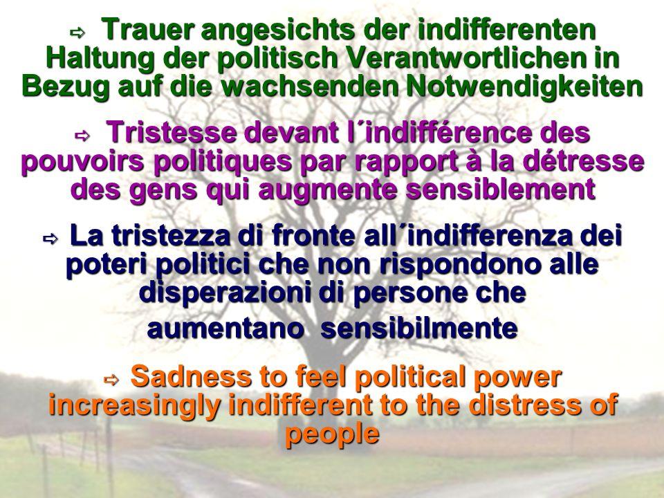 Trauer angesichts der indifferenten Haltung der politisch Verantwortlichen in Bezug auf die wachsenden Notwendigkeiten Trauer angesichts der indiffere