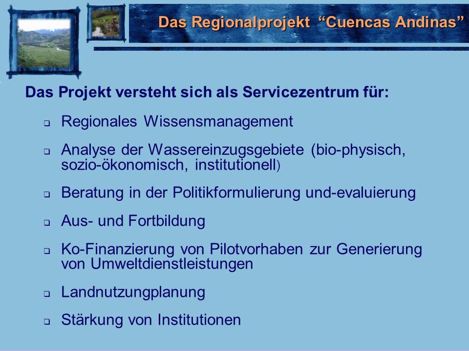Regionales Wissensmanagement Analyse der Wassereinzugsgebiete (bio-physisch, sozio-ökonomisch, institutionell ) Beratung in der Politikformulierung und-evaluierung Aus- und Fortbildung Ko-Finanzierung von Pilotvorhaben zur Generierung von Umweltdienstleistungen Landnutzungplanung Stärkung von Institutionen Das Projekt versteht sich als Servicezentrum für: Das Regionalprojekt Cuencas Andinas