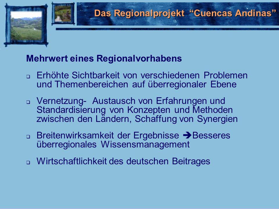 Mehrwert eines Regionalvorhabens Erhöhte Sichtbarkeit von verschiedenen Problemen und Themenbereichen auf überregionaler Ebene Vernetzung- Austausch von Erfahrungen und Standardisierung von Konzepten und Methoden zwischen den Ländern, Schaffung von Synergien Breitenwirksamkeit der Ergebnisse Besseres überregionales Wissensmanagement Wirtschaftlichkeit des deutschen Beitrages Das Regionalprojekt Cuencas Andinas