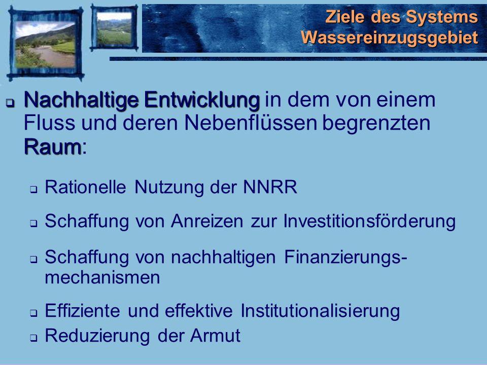Problematik in den Wassereinzugsgebieten der Anden INPUTS Hohes Bevölkerungs- wachstum Niedrige Kenntnisse über Verfügbarkeit natürlicher Ressourcen Incohärenz in der Gesetzgebung u.