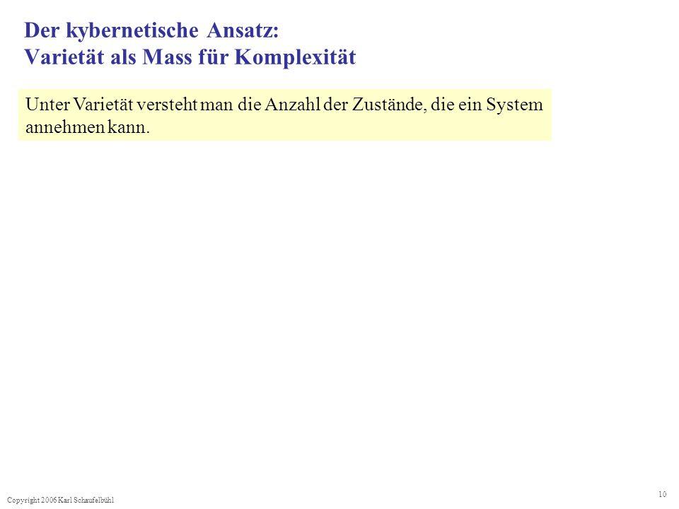 Copyright 2006 Karl Schaufelbühl 10 Der kybernetische Ansatz: Varietät als Mass für Komplexität Unter Varietät versteht man die Anzahl der Zustände, die ein System annehmen kann.