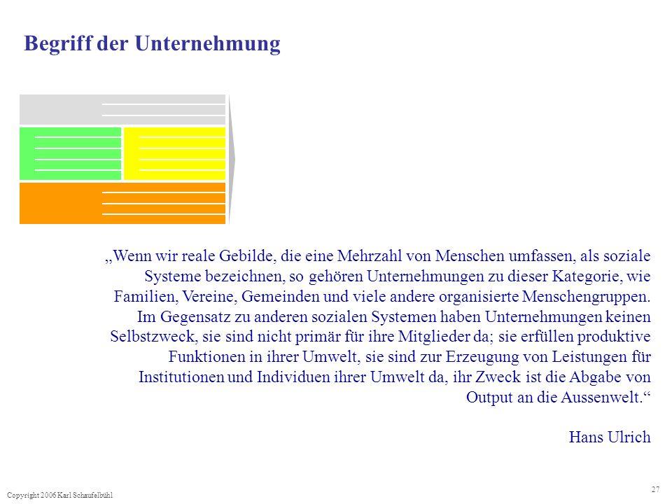 Copyright 2006 Karl Schaufelbühl 27 Begriff der Unternehmung Wenn wir reale Gebilde, die eine Mehrzahl von Menschen umfassen, als soziale Systeme beze