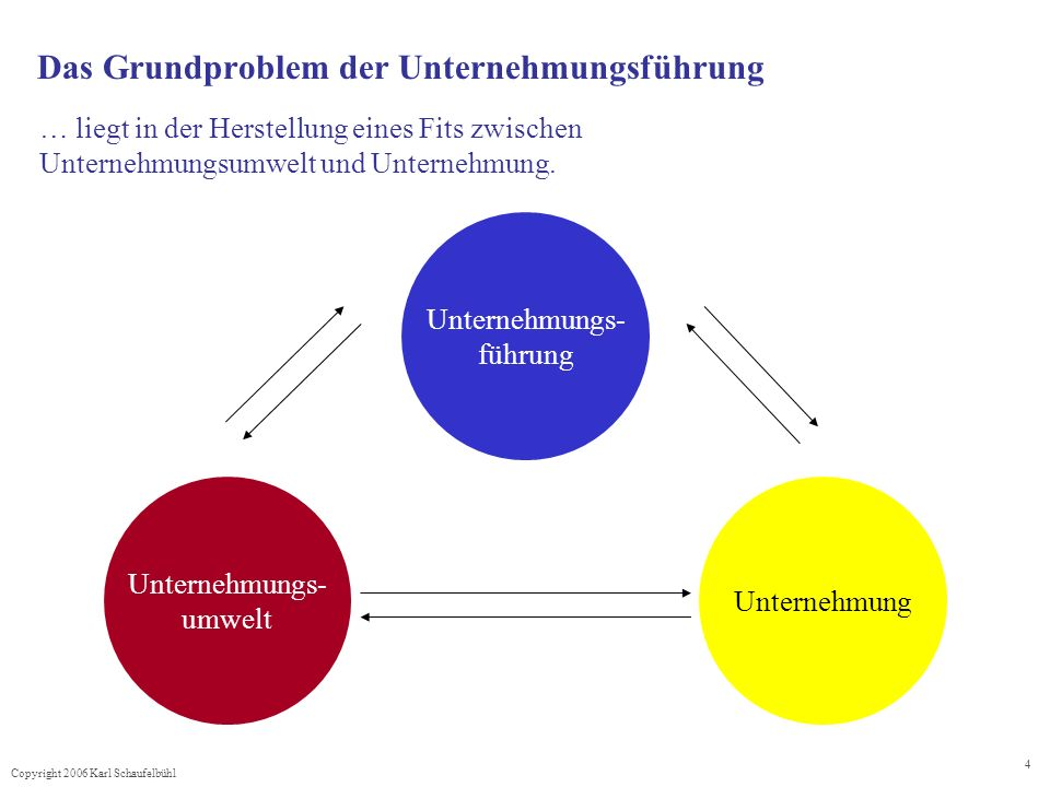 Copyright 2006 Karl Schaufelbühl 4 Das Grundproblem der Unternehmungsführung … liegt in der Herstellung eines Fits zwischen Unternehmungsumwelt und Unternehmung.
