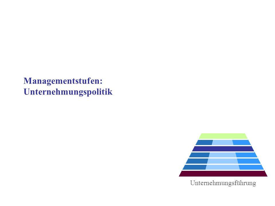 Managementstufen: Unternehmungspolitik Unternehmungsführung