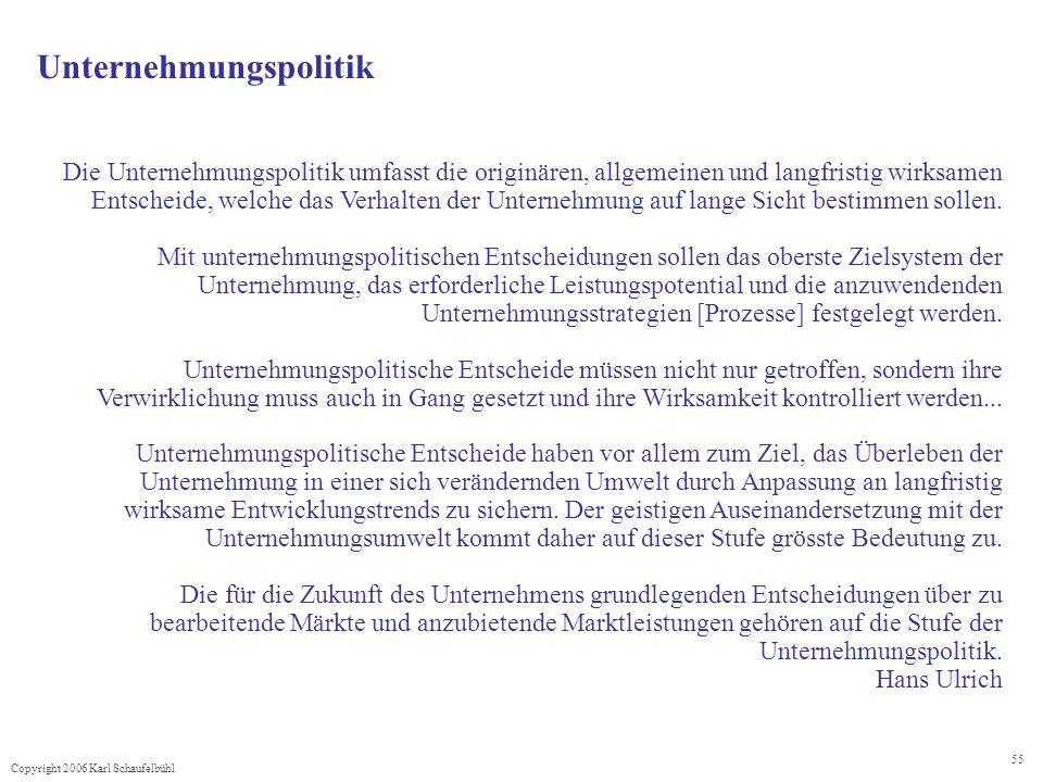 Copyright 2006 Karl Schaufelbühl 55 Unternehmungspolitik Die Unternehmungspolitik umfasst die originären, allgemeinen und langfristig wirksamen Entscheide, welche das Verhalten der Unternehmung auf lange Sicht bestimmen sollen.