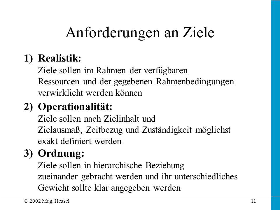 © 2002 Mag. Hessel11 Anforderungen an Ziele 1)Realistik: Ziele sollen im Rahmen der verfügbaren Ressourcen und der gegebenen Rahmenbedingungen verwirk
