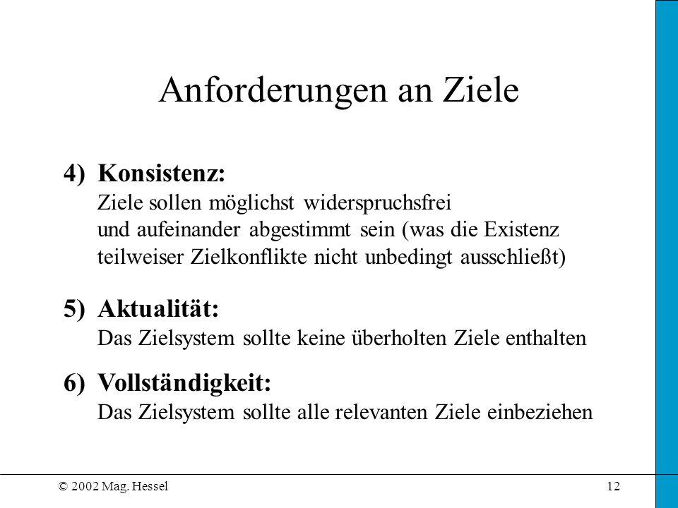 © 2002 Mag. Hessel12 Anforderungen an Ziele 4)Konsistenz: Ziele sollen möglichst widerspruchsfrei und aufeinander abgestimmt sein (was die Existenz te