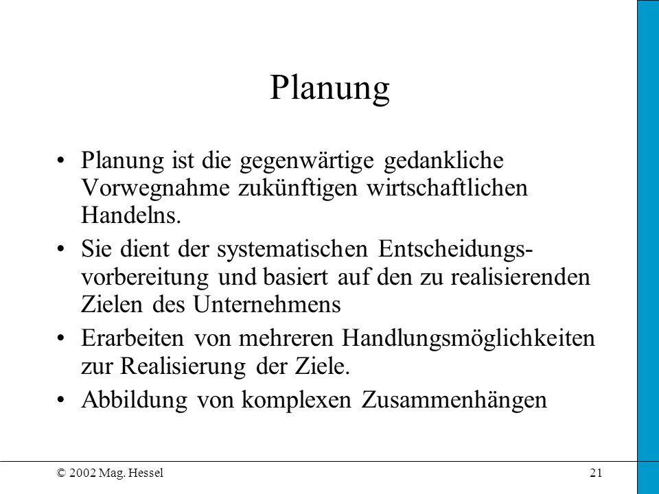 © 2002 Mag. Hessel21 Planung Planung ist die gegenwärtige gedankliche Vorwegnahme zukünftigen wirtschaftlichen Handelns. Sie dient der systematischen
