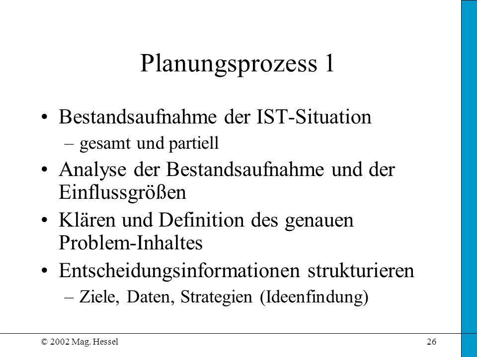 © 2002 Mag. Hessel26 Planungsprozess 1 Bestandsaufnahme der IST-Situation –gesamt und partiell Analyse der Bestandsaufnahme und der Einflussgrößen Klä