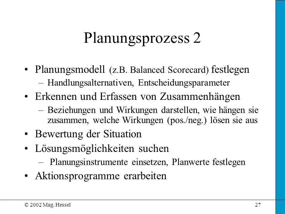© 2002 Mag. Hessel27 Planungsmodell (z.B. Balanced Scorecard) festlegen –Handlungsalternativen, Entscheidungsparameter Erkennen und Erfassen von Zusam