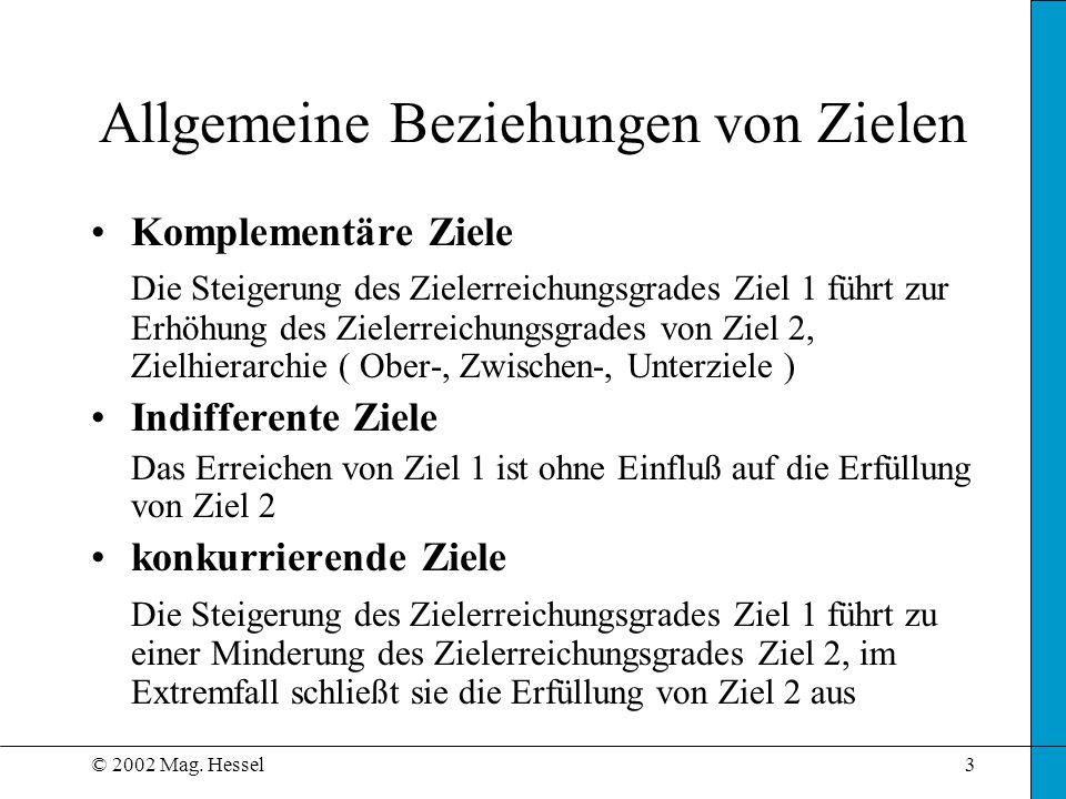 © 2002 Mag. Hessel3 Allgemeine Beziehungen von Zielen Komplementäre Ziele Die Steigerung des Zielerreichungsgrades Ziel 1 führt zur Erhöhung des Ziele