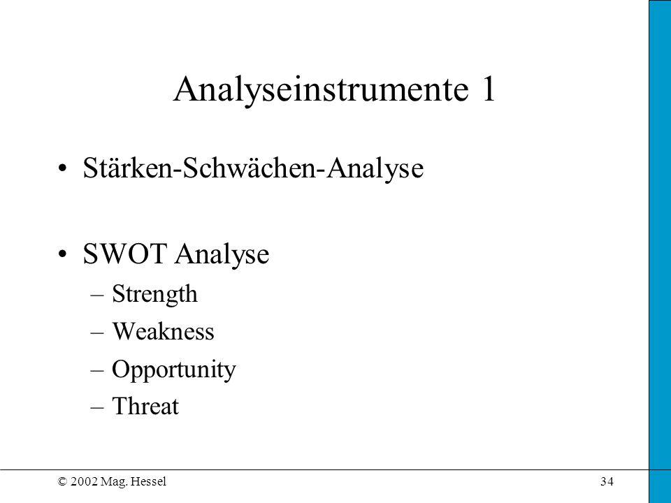 © 2002 Mag. Hessel34 Analyseinstrumente 1 Stärken-Schwächen-Analyse SWOT Analyse –Strength –Weakness –Opportunity –Threat