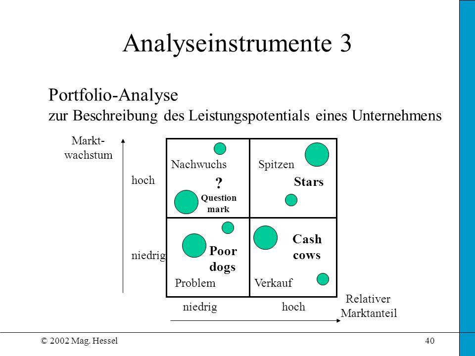 © 2002 Mag. Hessel40 Analyseinstrumente 3 Portfolio-Analyse zur Beschreibung des Leistungspotentials eines Unternehmens niedrig hoch Relativer Marktan